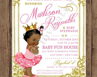 Custom Printed Shabby Chic - Antique - Vintage - African American - Royal Princess Baby Shower Invitations - 1.00 each with envelope