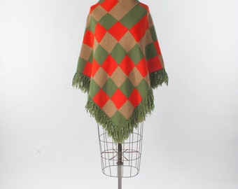Boho Wool Poncho, Vintage 60s Hand Woven Hippie Granny Cape with Fringe, Mod Orange & Green Patchwork