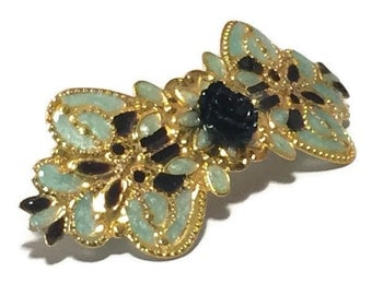Enameled Blue and Black Barrette Hair Ornament