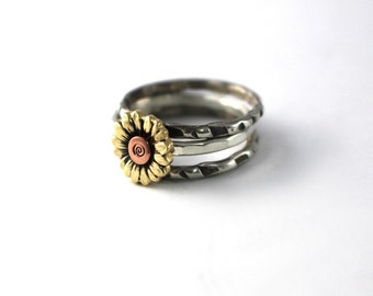 Sunflower Ring, Silver Ring, Stack Ring, Stack Band, Band, Silver Stack Ring, Flower Ring, Silver Stack Ring, Set Of 3