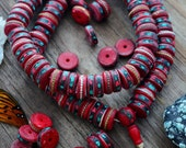 Deep Red: 15mm Rondelle Bone Beads inlaid with Turquoise, Coral and Wire, 10 beads from Nepal, Bohemian, Tribal, Jewelry Supplies