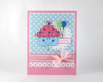 Cupcake birthday card, kids birthday card, girls birthday card, personalized birthday card, balloons, pink and blue