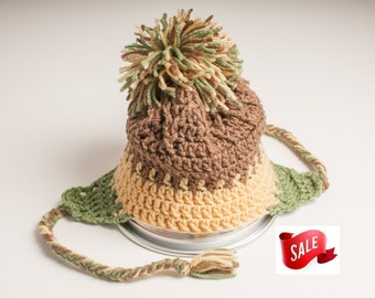 Summer CLEARANCE EVENT Hat, Earflap, Cafe, Cornmeal, and Tea Leaf Green, Ready to Ship