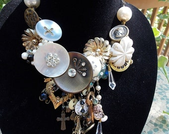 Baroque necklace assemblage statement necklace award winning necklace Victorian necklace beaded fall statement necklace beaded bib necklace