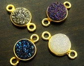 1 2 3 5 10 Pcs, Druzy Drusy Bezel Connector, 8mm 24kt gold Vermeil Agate Link, 14x8mm (with loop)