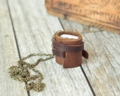 Mini Leather Journal Necklace, Rustic Mini Book Jewelry
