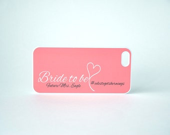 Personalized phone case, Bride to be Future Mrs Hashtag Coral phone case, iPhone 4, 4s, 5, 5s, 5c, 6, 6+, Samsung Galaxy S4, S5, S6 Case