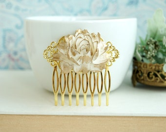 Gold Rose Flower Comb, Gold White Hair Comb. Large Gold Rose Vintage Gold Comb. Gold Cream Wedding. Bridesmaid Gifts. Gold and Ivory Wedding