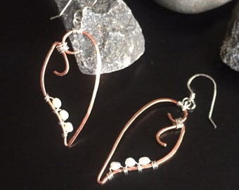 Copper and Sterling Silver Pearl Leaf Earrings