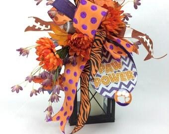 Clemson Decor Football Lantern Swag w Tiger Paw Ornament Football & Mums -Clemson Tigers Decorations -Clemson Tailgate Decor