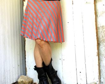 SALE - Striped Skater Skirt - USA Grown Organic Cotton - Made to Order - Eco Fashion