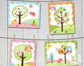 Set of 4 Owls Love Birdies Girls Bedroom and Baby Nursery 8 x 10 Wall ART PRINTS