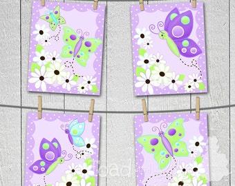 Set of 4 Daisy Lilac Butterfly Girls Bedroom Nursery 8 x 10 Art Prints