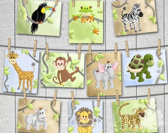 Set of 10 Jungle Animal Bedroom Nursery 5 x 7 Wall ART PRINTS