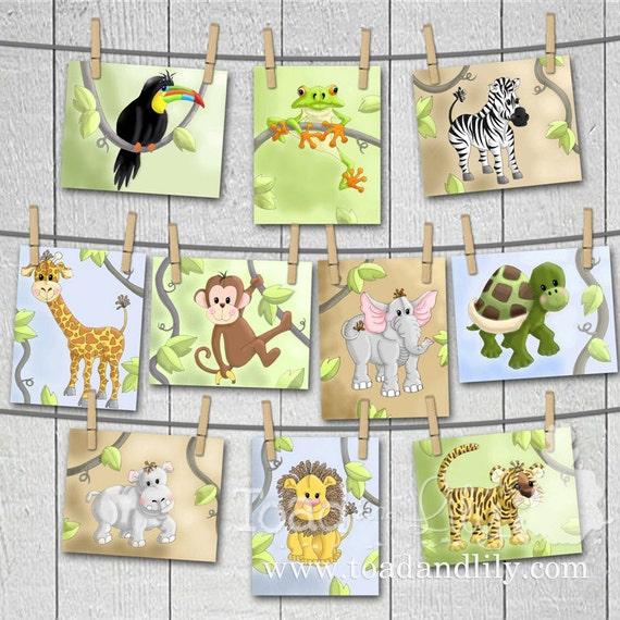 Set of 10 Jungle Animal Bedroom Nursery 5 x 7 Wall ART PRINTS