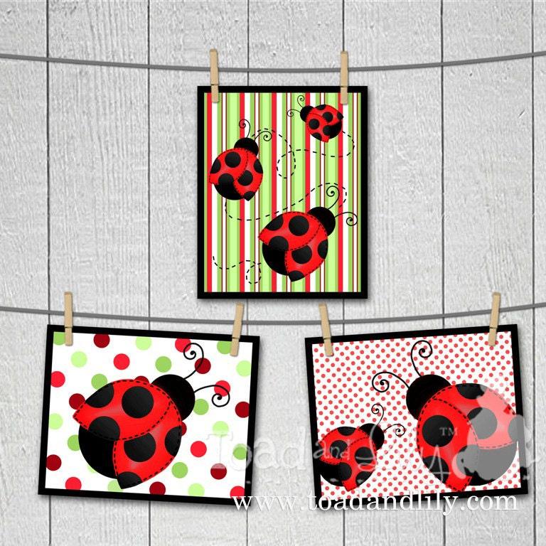 Set of 3 red mod ladybug girls bedroom 8x10 wall art prints for 8x10 bedroom