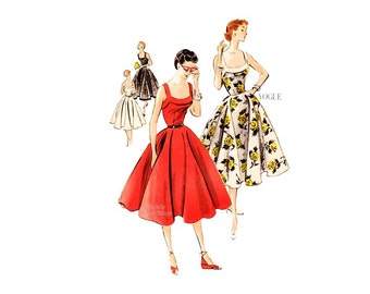 50s Sundress Pattern, Vogue 7701, Gorgeous Party Dress with Full Skirt, Square Neck, Bust 34, Fit and Flare Dress, Vintage Sewing Pattern