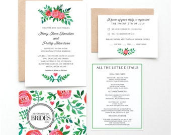 Tea Rose Garden Wedding Invitations, as seen in Brides Magazine, Pink and Green Floral