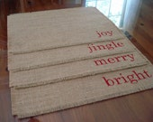 Christmas Placemats Burlap Placemats (4) Reversible Placemats, Hand Painted Lettered Table Mats Farmhouse Decor Place Mats