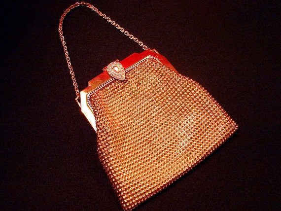 Vintage 1950's  Whiting and Davis Gold Mesh Evening Bag with Rhinestones
