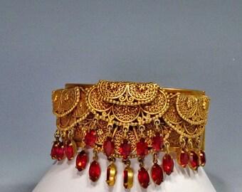 Victorian Clamper Bracelet , Vintage Filigree, Openwork, Rhinestones, Pendant