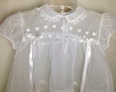 1950s or 60s Era Toddler Sheer Overdress with Heart Design