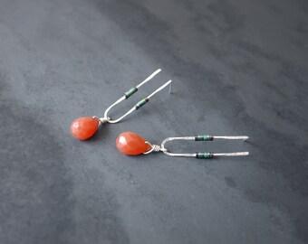 Minimal Silver Hematite and Red Agate U Shaped Drop Earrings