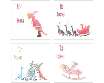 Dinosaur Christmas Labels, Dino Stickers, Dinosaur Gift Tags, Holiday Dinosaurs, Dinosaur Stickers, Kids Christmas Labels, Kids Stickers
