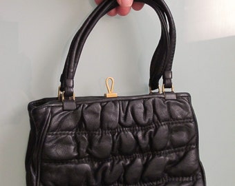1960s Black Leather Puckered Leather Small Handbag with Mirror, Vintage Purse Millie's Handbag Factory Hong Kong