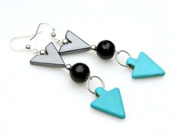 Blue Arrow Earrings Turquoise Earrings Navajo Woodland Long Dangles Chevron Earrings Black Arrow Tribal Southwest Rustic Style by Mei Faith