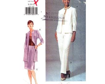 Jacket Top Skirt Pants Pattern Vogue 7093 Womens Suit Long Boxy Jacket Side Pocket Trousers Sewing Pattern Size 8 10 12 UNCUT