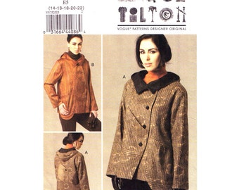 Jacket Sewing Pattern Vogue 8752 Asymmetrical Jacket Collar or Hooded Jacket Designer Marcy Tilton Pattern Womens Size 14 to 22 UNCUT