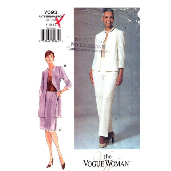 Long Boxy Jacket Top Skirt Pants Pattern Vogue 7093 Womens Suit Pockets Trousers Size 8 10 12