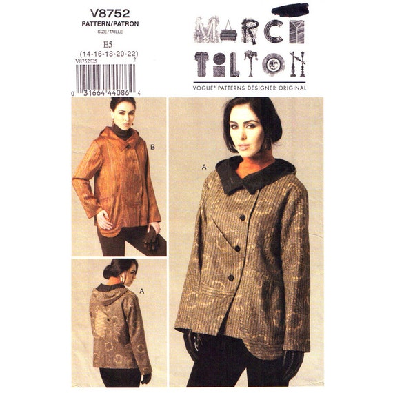 Asymmetrical Jacket Sewing Pattern Vogue 8752 Collar Hood Designer Marcy Tilton Size 14 to 22