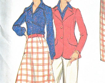 Uncut Butterick 3190 Early 1970s Misses' Half Size Jacket, Skirt & Pants Vintage Sewing Pattern Bust 37 or 39 inches