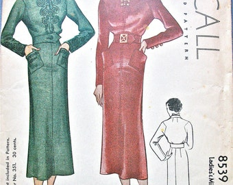 Vintage 1930s Sewing Ladies' and Misses' Dress Pattern McCall 8539  Bust 30 inches