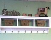 "Wood Cubby Wall Shelf with 3 Cubby Holes 48"" wide Wall Shelf with Bead Board Back  Coat Rack Storage Shelf Organizer"