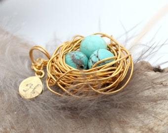 Personalized bird nest necklace with three turquoise eggs and initial charm- gold plated woven wire with chain- December birthstone