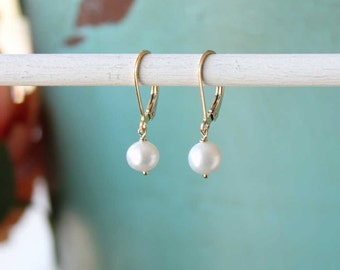 Pearl Earrings, Gold Pearl Earrings, Freshwater Pearl Jewelry, Pearl Drop Dangle on Leverback, Everyday Pearl Jewelry, June Birthstone Gift