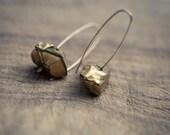 Modern Simple Earrings Gold Quartz 14K Goldfilled Hook earrings Organic Minimalist design sparkling minimal chic