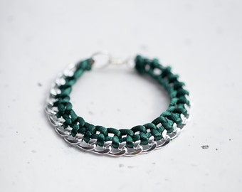 Emerald Chain Braided Bracelet Dark Teal Green Cord friendship silver gold bracelet Modern minimalist jewelry