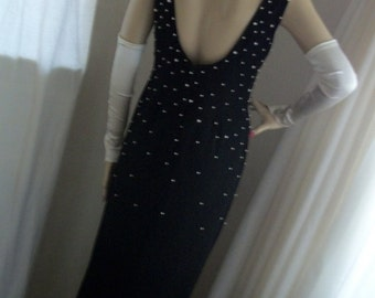 Gorgeous 1920s 1930s Style Elegant Slinky Black Maxi Gown with Pearl Beaded Bodice Size M Daniella Label made in USA