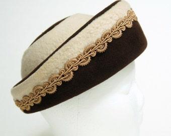 Hat 1950's 1960's Hat Brown and Beige Felt Faux Fur Vintage Fall Autumn Brimmed Pillbox Millinery Chapeau
