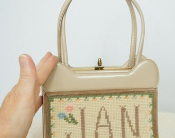 Handbag Vintage Purse Personalized Jan Handbag Small Needlepoint Dainty Bag Little Small Handbag