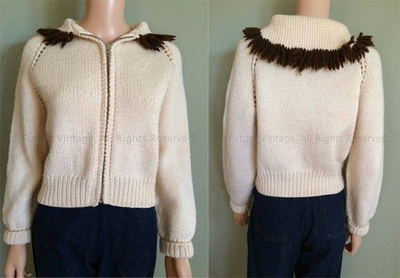 1950s Adorable Cream Knit Zip Up High Waist Cardigan Sweater with Brown Fringe Contrast Collar-M L