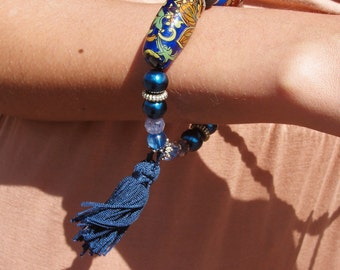 Unique upcycled 70's vintage beaded bracelet in blue navy & silver tassel charm bracelet FESTIVAL