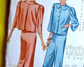 1930s McCall  Pattern 9953 * Glamorous Misses' Lounging Pajamas w/ Wide Legged Pants and Cropped Jacket * Bust 32