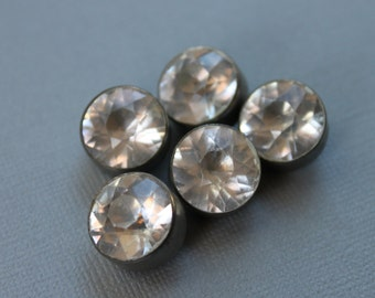 Large Antique Diamond Paste Rhinestone Buttons / 15mm Bridal Button Lot / Vintage Sewing Notions