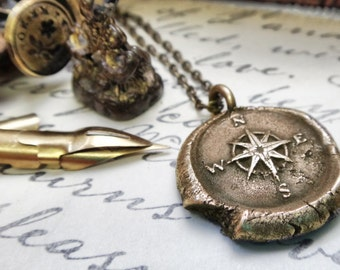 Traveler Gift - Bon Voyage Compass Pendant Necklace - Nautical Wax Seal Jewelry - Gold Mariner Charm - Golden Compass