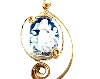Blue and white Cameo Angels and Cherubs 14k gold filled wire